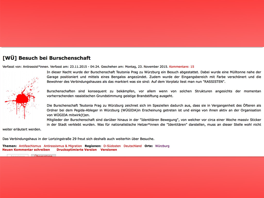 """Screenshot eines veröffentlichten Bekennerschreibens nach einem """"Besuch"""" bei einer Würzburger Burschenschaft."""
