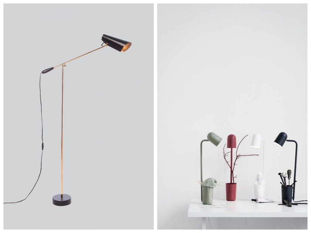 Links: Northern Lighting Birdy Stehleuchte Schwarz / rechts: Northern Lighting Buddy Tischleuchte Familie. Foto: einrichten-design.de
