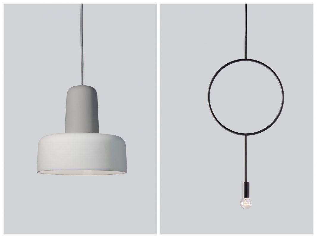 Links: Northern Lighting Meld Pendelleuchte grau Weiss / rechts: Northern Lighting Circle Pendelleuchte Dunkelgrau 2. Foto: einrichten-design.de