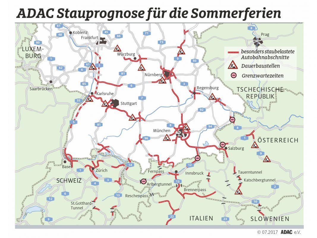 Gerade in Nordbayern tragen zahlreiche Baustellen zusätzlich zur Stauproblematik zum Beginn der Sommerferien. Grafik: ADAC.